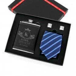 zestaw dla brata na mikołajki piersiówka ze spinkami i krawatem