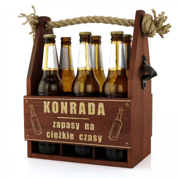grawerowana skrzynka na piwo na prezent dla męża