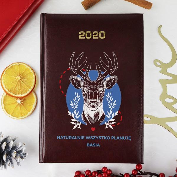 kalendarz z nadrukiem jeleń na prezent na gwiazdkę dla niej