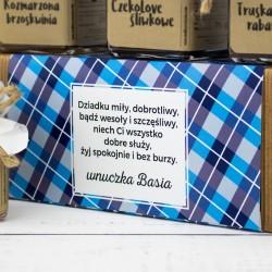 zestaw konfitur w pudełku z życzeniami na prezent na dzień dziadka