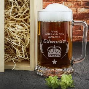 kufel do piwa z grawerem korona na prezent dla dziadka