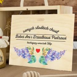 zestaw prezentowy w skrzynce z nadrukiem na dzień babci i dziadka