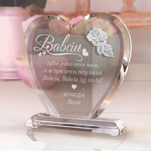 serce ze szkła z dedykacją na prezent na dzień babci róży kwiat