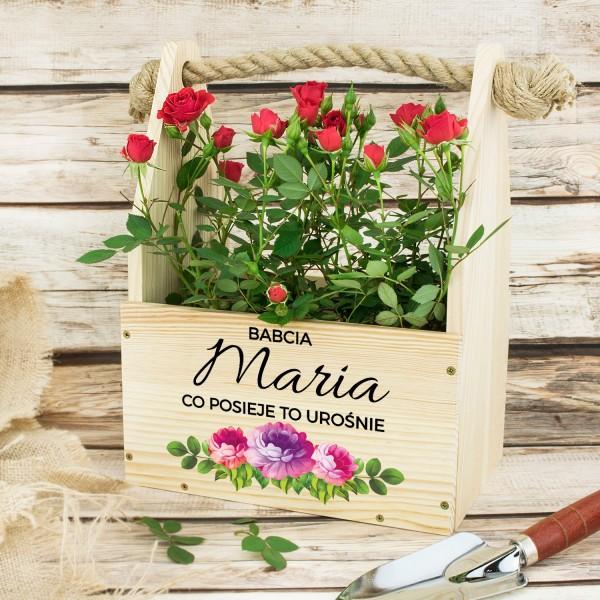 skrzynka na kwiaty z nadrukiem na na prezent dla babci