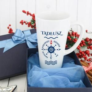 kubek z imieniem i dedykacją ster na prezent dla dziadka na urodziny