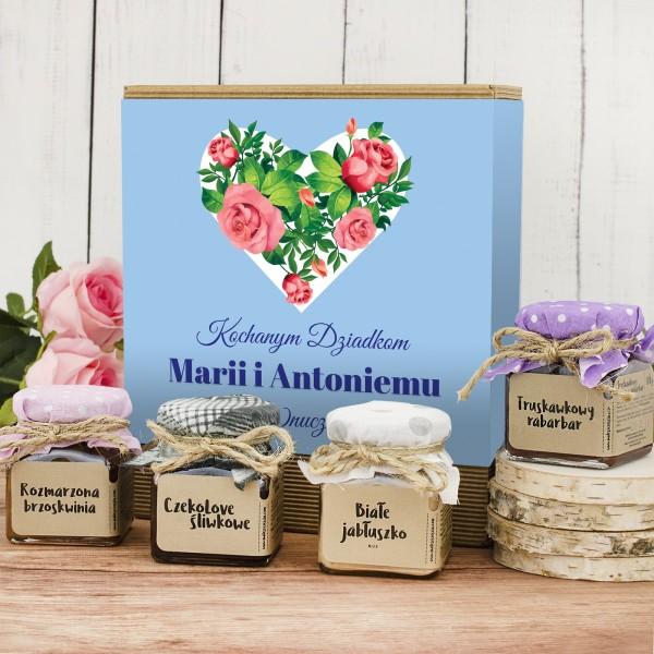 konfitury prezentowe z nadrukiem dla babci i dziadka serce z róż