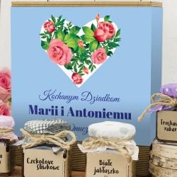 zestaw upominkowy konfitury serce z róż na prezent dla babci i dziadka