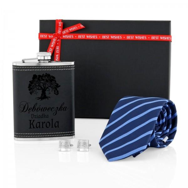 zestaw piersiówka z krawatem i spinkami - Elegant na prezent dla dziadka