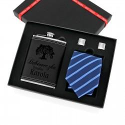 zestaw prezentowy piersiówka z krawatem i spinkami - Elegant na prezent dla dziadka