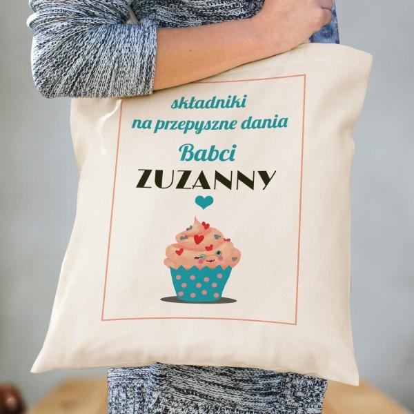 torba na zakupy z dedykacją przepyszne dania na prezent dla babci
