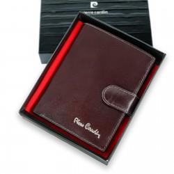 skórzany portfel z zapinką Pierre Cardin