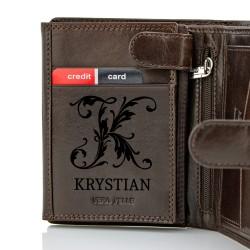 portfel skórzany z grawerem imienia i monogramu