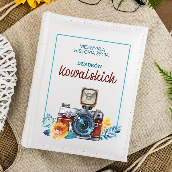 album na zdjęcia z nadrukiem historia życia na prezent dla dziadków