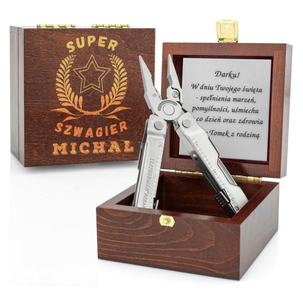 wielofunkcyjne narzędzie w drewnianym etui z grawerem dla szwagra