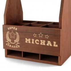 drewniana skrzynka na piwo z grawerem na prezent dla szwagra