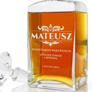 karafka do whisky z grawerem dedykacji na upominek dla mężczyzny