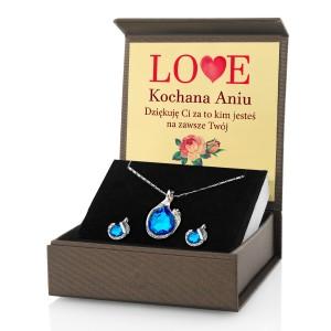 komplet biżuterii w pudełku z dedykacją Love
