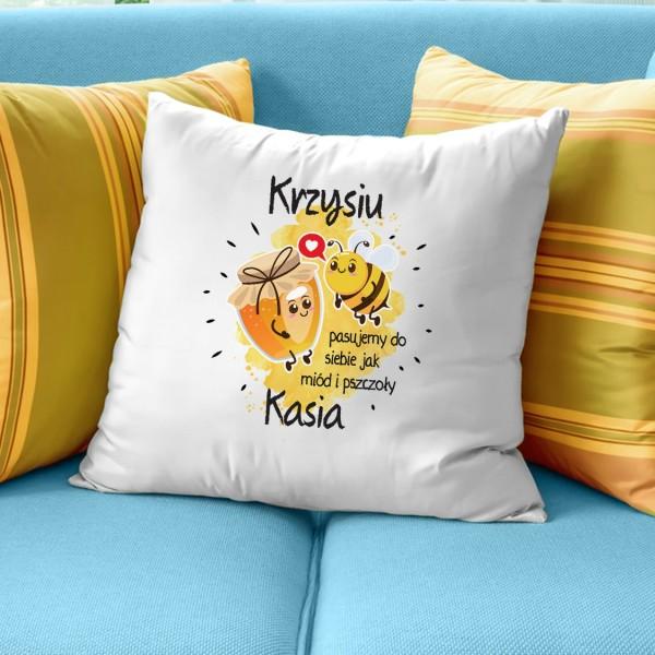 poduszka z nadrukiem Miód i Pszczoły na prezent dla niego