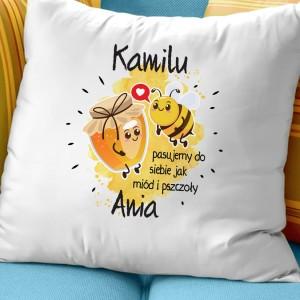 poduszka dla chłopaka na walentynki Miód i Pszczoły