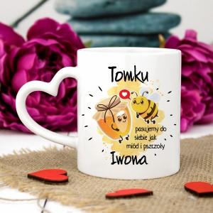 kubek z własnym nadrukiem Miód i Pszczoły na prezent na walentynki