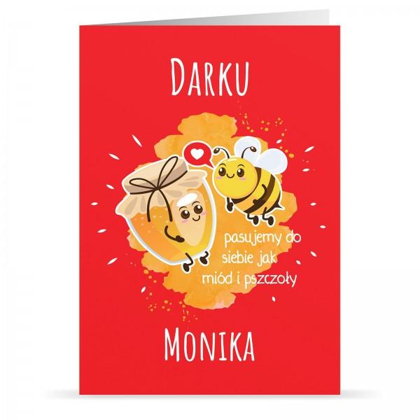 kartka walentynkowa z personalizacją na prezent dla chłopaka Miód i Pszczoły