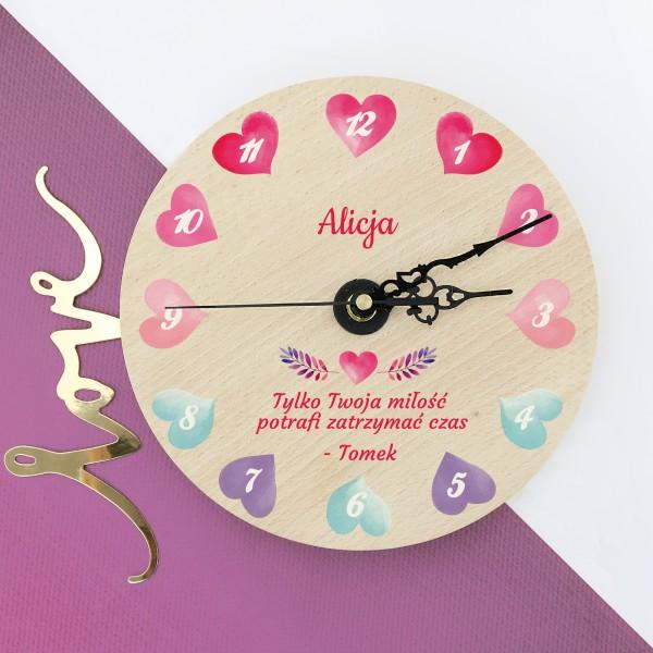zegar ścienny z nadrukiem Zatrzymany Czas na prezent na walentynki dla dziewczyny