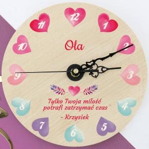 zegar z nadrukiem Zatrzymany Czas na upominek dla kobiety