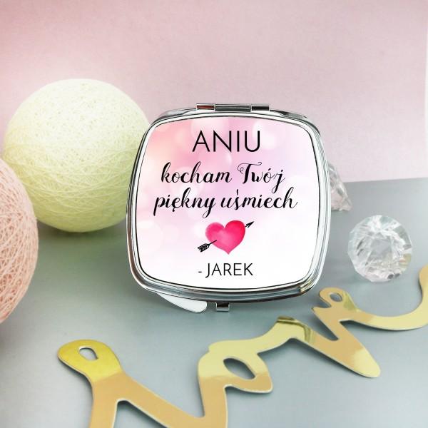 lusterko kompaktowe z nadrukiem Piękny Uśmiech na prezent dla dziewczny