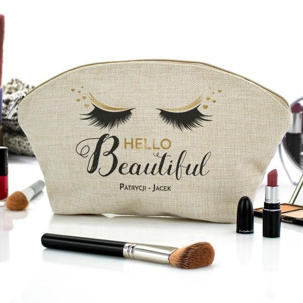 kosmetyczka z nadrukiem Hello Beautiful na prezent dla niej