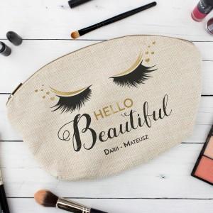 kosmetyczka z własnym nadrukiem Hello Beautiful na upominek dla żony