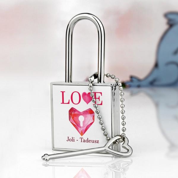 kłódka miłości z nadrukiem Kryształowa Miłość na prezent dla niej