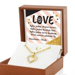 naszyjnik serce złote w pudełku z nadrukiem Love na prezent na walentynki