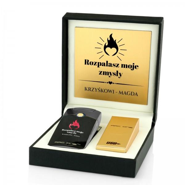 zapalniczka plazmowa w pudełku z grawerem Rozpalasz Moje Zmysły na prezent dla męża