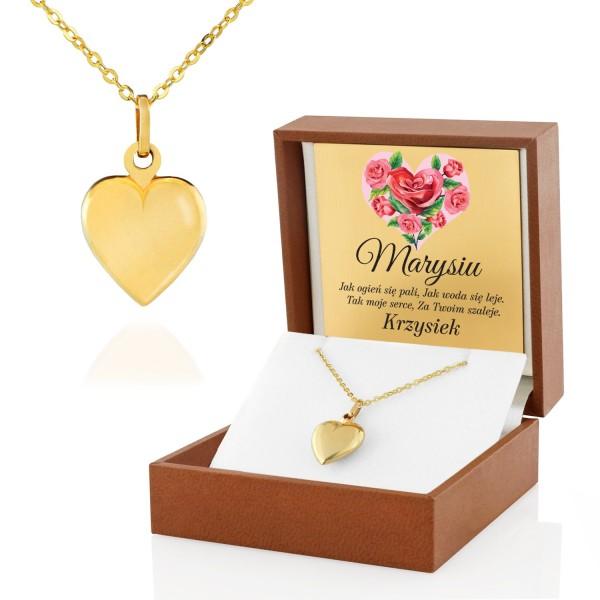 złoty łańcuszek z serduszkiem w pudełku Różane Serce na prezent dla niej