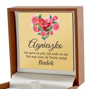 pudełko biżuteryjne z nadrukiem Różane Serce na upominek dla dziewczyny