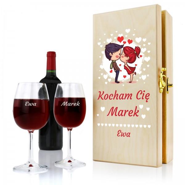 skrzynka na wino z kieliszkami Całus na prezent na walentynki