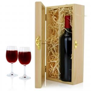 drewniana skrzynka na wino z kieliszkami na prezent