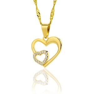 złote serduszko z cyrkoniami na łańcuszku na prezent dla niej