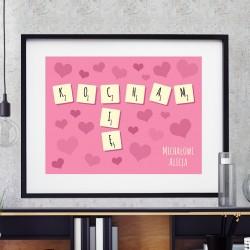 obraz drukowany na płótnie Miłosne Scrabble na upominek na walentynki