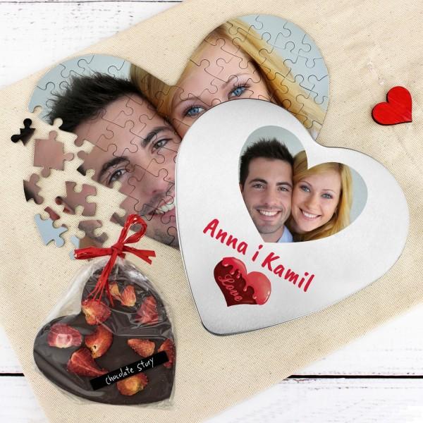 puzzle z nadrukiem zdjęcia i czekoladą Słodkie Serce na