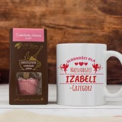 kubek z własnym nadrukiem Najsłodsza i czekoladą na prezent dla dziewczyny