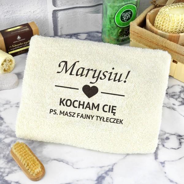 ręcznik z haftem Fajny Tyłeczek na prezent dla niej