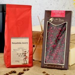 czekolada i kawa w zestawie prezentowym