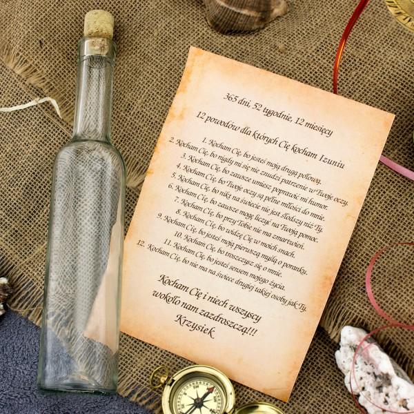 miłosna wiadomość w butelce na prezent