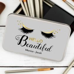 zestaw pędzli do makijażu w pudełku Hello Beautiful z nadrukiem