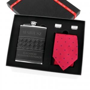zestaw prezentowy: piersiówka, spinki do koszuli i krawat