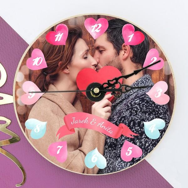 zegar ścienny ze zdjęciem Czas Miłości na prezent dla niego