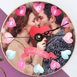 zegar na ścianę z nadrukiem zdjęcia Czas Miłości na prezent dla niej