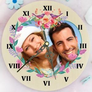 zegar ścienny ze zdjęciem Kwiatowe Serce na prezent na walentynki
