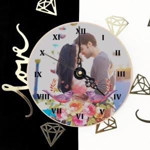 zegar ścienny z nadrukiem zdjęcia Zakochane Skowronki na prezent walentynkowy